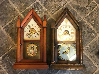 Antique American Cottage Gothic Steeple Clocks