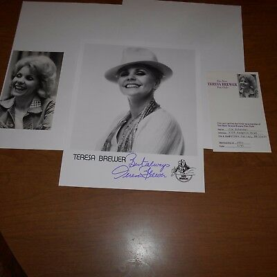 Teresa Brewer was an American singer  Hand Signed Photo
