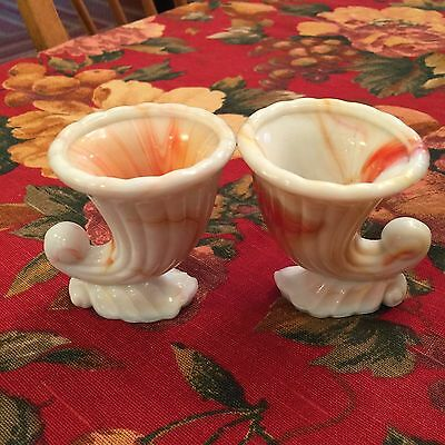 Vintage Two Glass Cornucopia Toothpick Holders Coral & White N.Y.C. Vogue Merc