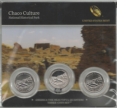 USA: America the Beautiful Quarters 2012, Three-Coin-Set, Chaco, New Mexico