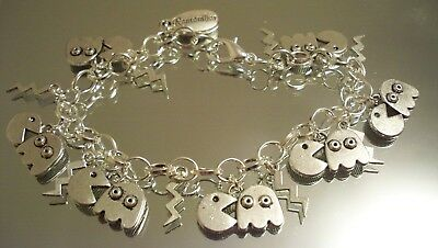 "SALE - SHINEdesigns, ""PACMAN"" Bracelet Chain Silver Kids Games Video Antiques"