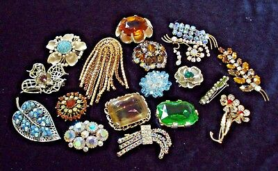 Vintage Jewellery Superb Lot Of Mixed Vintage Brooches Big Quality Glass Gems