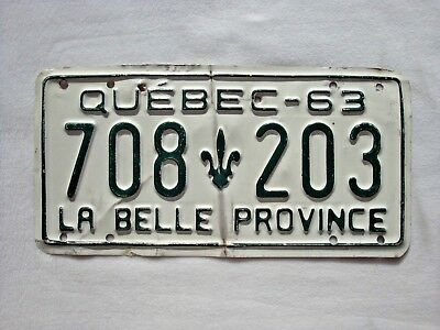 1963 QUEBEC Vintage License Plate # 708 203