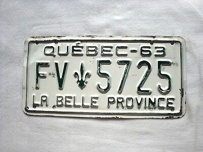 1963 QUEBEC Vintage License Plate COMMERCIAL # FV 5725