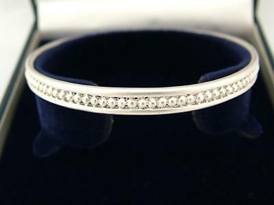 Small Hallmarked Solid 925 Sterling Silver Slip On Bangle Bracelet With Box Tjx