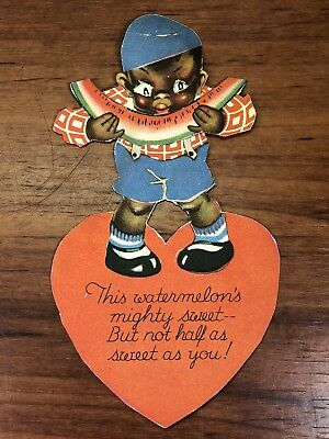 Vintage Collectible Afro American Black Americana Mechanical Valentines Day Card