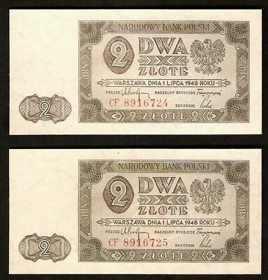 Poland 2 Zlote  Set Two Banknotes 1948  UNC Consecutive Number