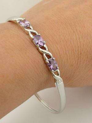 Fully Hallmarked Solid Sterling Silver And Cz Amethyst Slip On Bangle Bracelet