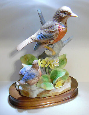 Porcelain Bisque Ardco? Mother And Baby Robin Bird Figurine With Wooden Base