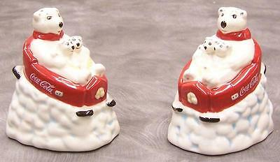 Coca Cola Bears On Sled Salt & Pepper Shaker Set