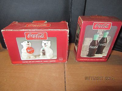 Set of 2 Coca Cola Salt & Pepper Shakers/ Contour Bottles/Playtime cubs/New in b