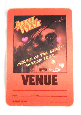 April Wine Nature Of The Beast Satin Cloth Backstage Pass Unused