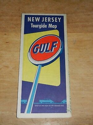 Vintage GULF OIL TOURGIDE TRAVEL ROAD MAP Gas Station Road Map NEW JERSEY