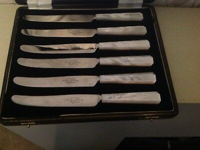 Boxed set THOMAS W CORK Butter knives beautiful mother of pearl handles Vintage