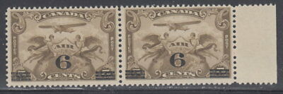 Canada #C3 6¢ On 5¢ Surcharged Airmail Pair Mint Never Hinged