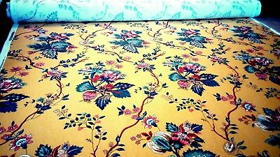 Vintage Multicolor 100% Cotton Upholstery Curtain's Craft Fabric 1 Meter