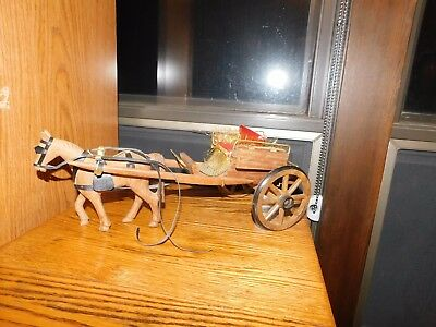 Hand Carved Wood Horse Carriage Toy Vintage Christmas