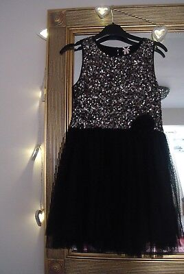 """Girls """"next"""" Black And Sequin Party Dress Age 7 Years"""