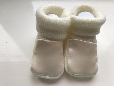 Newborn Baby Booties,  Acrylic Knitted Bootees, Cream Satin Uppers