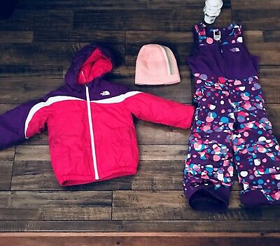 The North Face Insulated Snow Bib Pant Pink Toddler size 4 and jacket set