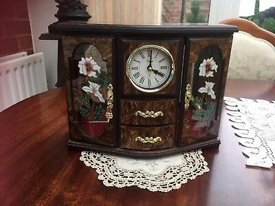Vintage Musical jewellery box - Wood effect -  with clock & ballerina