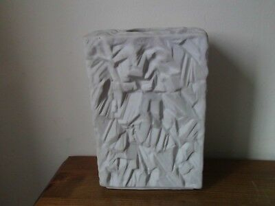 Bavarian Bisque Square Vase by Schumann Arzberg Germany. 1970's Op-art. 1114/17