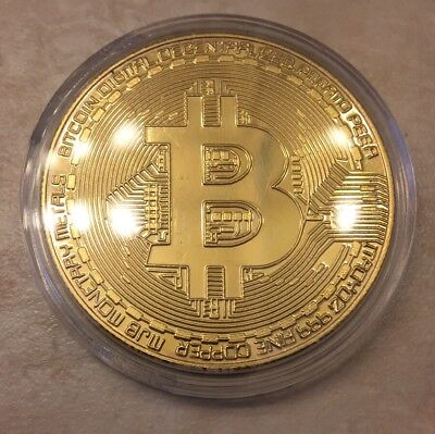 BITCOIN Physical Bitcoin in protective acrylic case FAST SHIPPING!! Novelty Coin