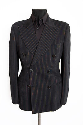 Vintage Dolce Gabbana Double Breasted Blue Pinstripped Wool Suit Jacket Size 40