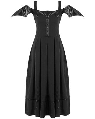 Dark In Love Womens Gothic Bat Wing Dress Long Black Faux Leather Halloween