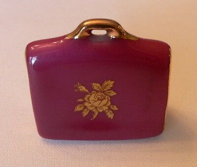 Miniature Limoges France Burgundy Red & Gold Briefcase