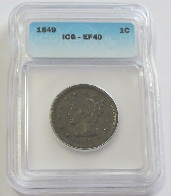 1849 Large Cent Icg Xf 40