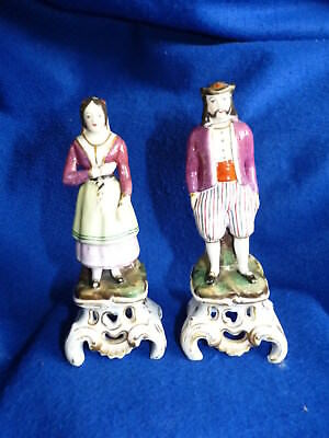 Pair of antique Victorian Staffordshire figurines – 19th century – A/F