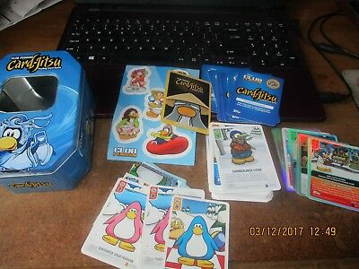 collectable tin and  80+ club  penguin cards jitsu,shineys