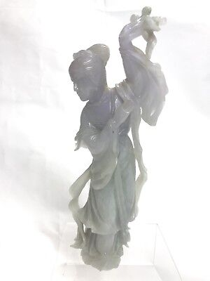 A stunning and rare antique Chinese lavender celadon jade figure of a Maiden