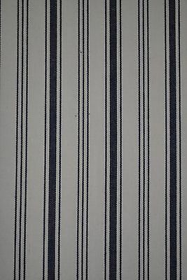 Vintage Ticking Fabric In Ivory Cotton Canvas With Navy Stripe Design