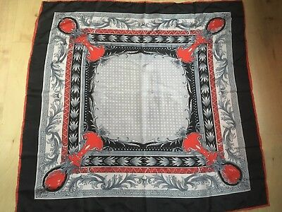 Vintage Black Red & Silver Paisley Floral Spotted Chinese Silk Scarf
