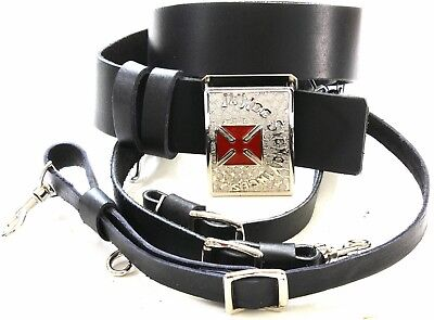KNIGHTS TEMPLAR  BLACK Sword Belt/Buckle For Sir Knight Size 40 SILVER/RED