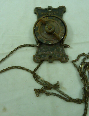 Antique MUELLER Milwaukee Stove Damper Control & Chaine Vintage Furnace Dial