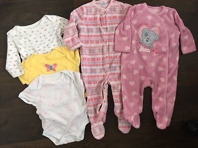 Fleecy Sleepsuits And Vest Bundle - Including Tatty Teddy, M&S. Size 3-6 Months