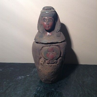 Rare Antique Ancient Egyptian Canopic jar put liver wth Winged Scarab1780-1670BC