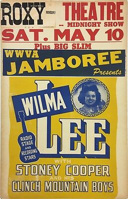 1952 Wilma Lee & Stoney Cooper Country Boxing Style Concert Poster