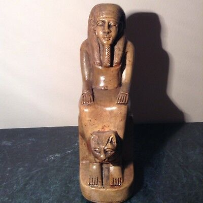 Rare Antique Ancient Egyptian Statue Pharao Senusret with God Sekhmet1878-1839BC