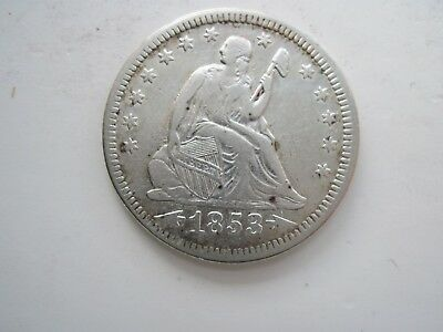 1853 25C Arrows and Rays Liberty Seated Quarter  (cleaned)