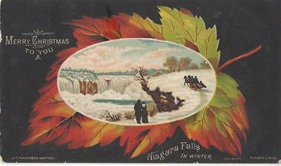 Christmas - Niagara Falls In Winter 1908 Postcard