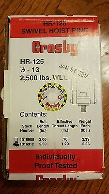Crosby HR-125 Swivel Hoist Ring 1/2 -13 2,500 lbs stock #1016912