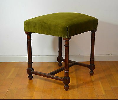 French Antique carved solid oak Gothic medieval foot stool Ottoman bench 1800 s