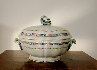 Antique Gien French Louis XIV style majolica bowl dolphin handle tureen 19th c.