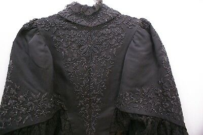 Antique Women's Mourning Cloak Coat Lace & Beaded Jacket for display or costume