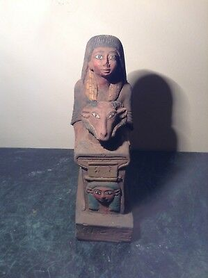 Rare Antique Ancient Egyptian Pharao Horemheb Hold God khnum & Hathor1319-1292BC