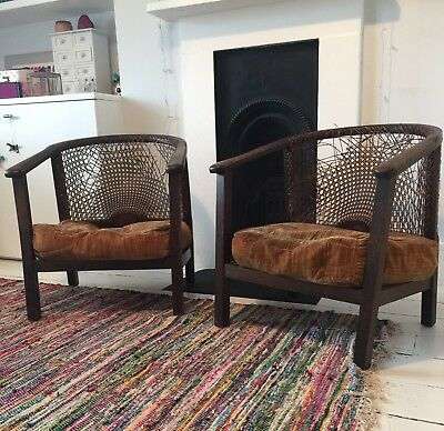 Pair of original caned armchairs. Retro, Vintage. Pick up Putney SW18